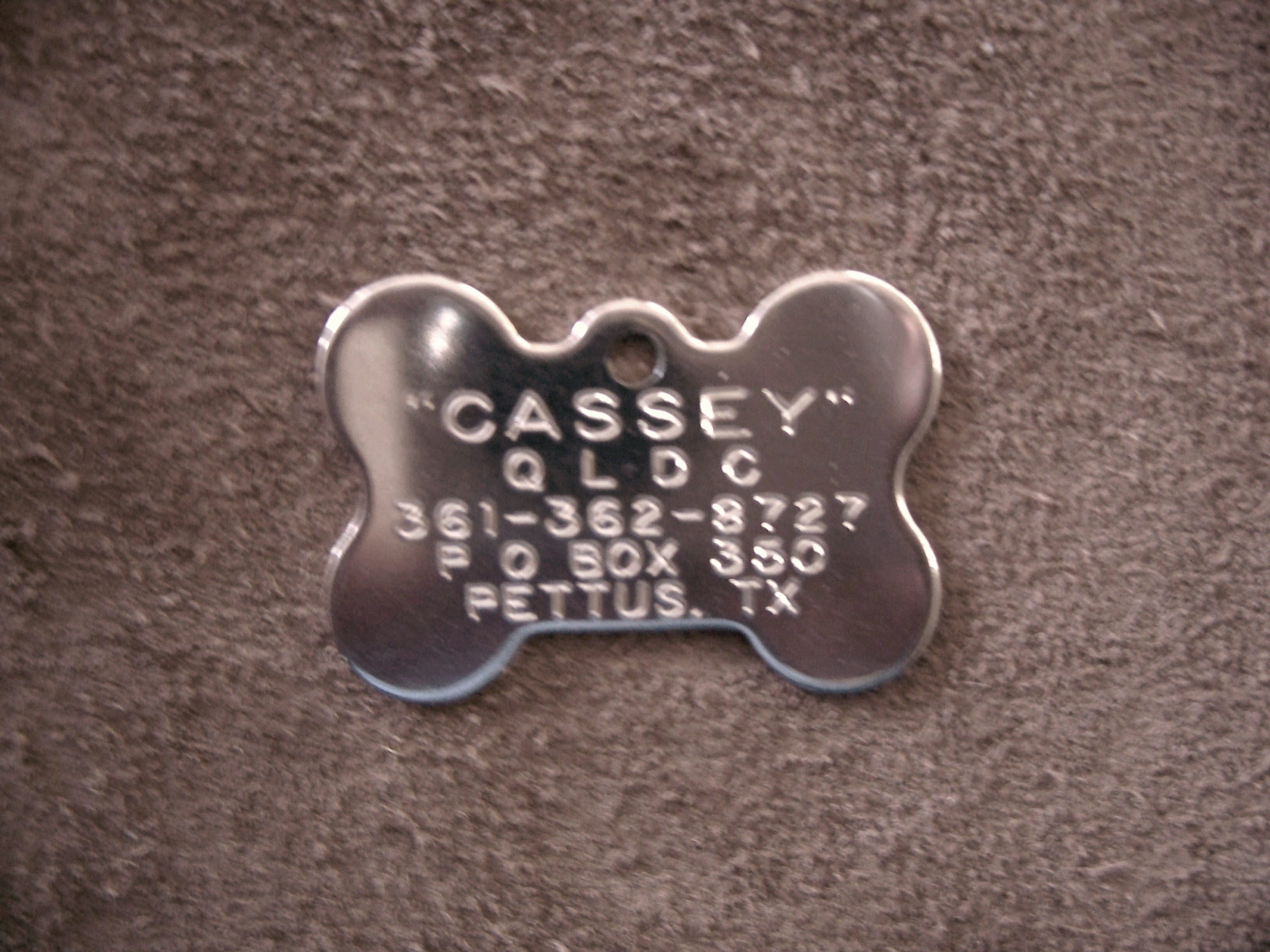 Bone Shaped Tag in Stainless