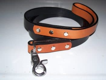 """NEW"" Polo Leash Black & Tan - 3/4"" x 5'"