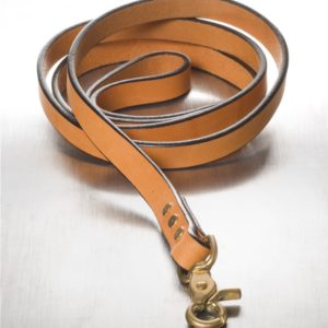 "The Polo Leash Tan with Brass 3/4"" x 5'"