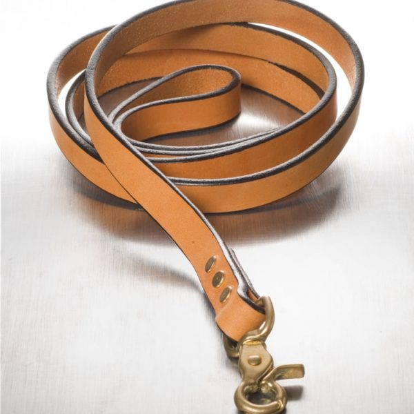 """The Polo Leash Tan with Brass 3/4"""" x 5'"""